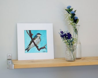 12x12 Tree Swallow Art with White Mat - Ready to Frame Bird Print from Original Acrylic Painting