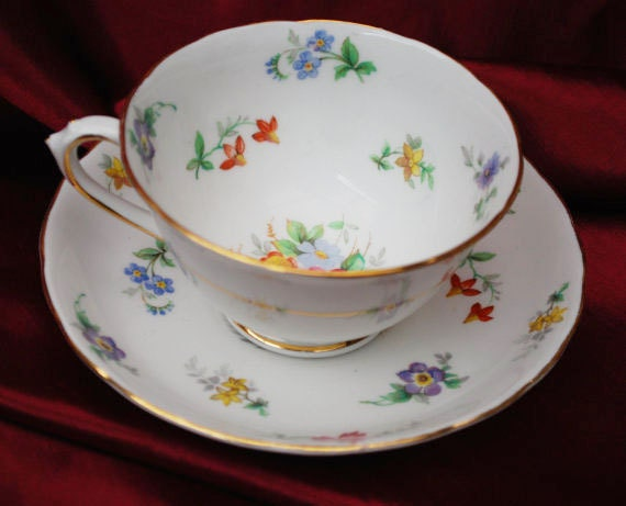 English Tuscan Bouquet Tea cup and Saucer flower floral  fine  bone china