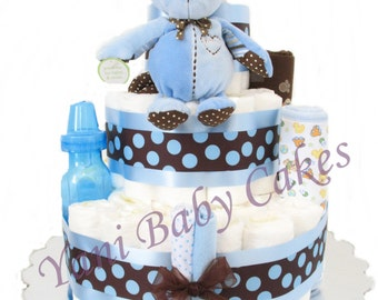 Baby Diaper Cakes Baby Shower Centerpiece / Baby Monkey Diaper Cake 3 Tier/ Baby Shower & Unique Baby Gift