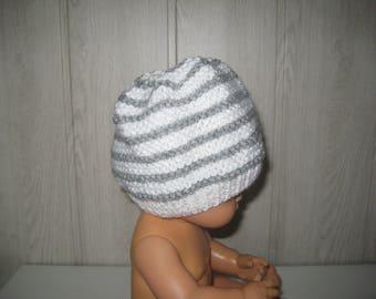 grey/white wool baby Hat