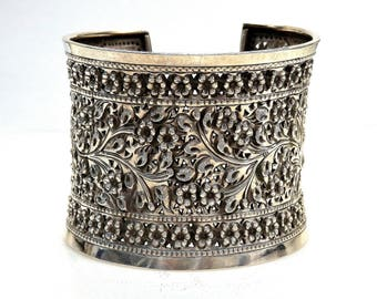 Sterling Silver Flower Design Cuff Bracelet #253637983042