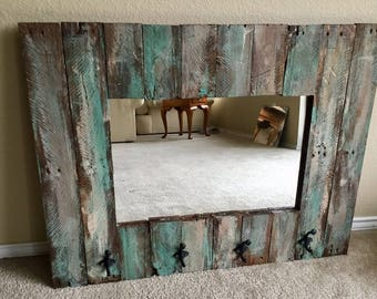 Rustic Mirror made from reclaimed barnwood