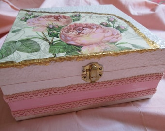 Wooden box Roses decoupage handcrafted
