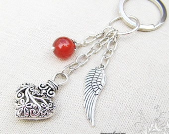 Door keys carnelian heart and wing