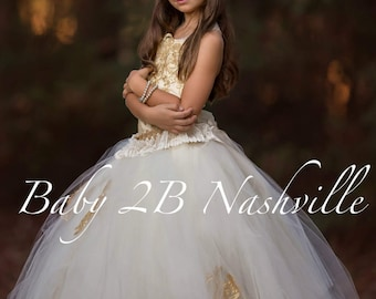 Gold Lace Dress Flower Girl Dress Ivory Dress Gold Dress Tulle Dress Party Dress Birthday Dress Wedding Dress Toddler Tutu Dress Girls Dress
