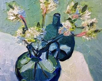 Flowers in blue glass - original oil painting by Christian Twelftree