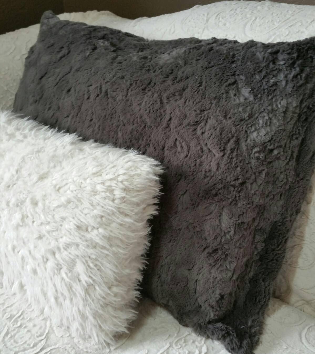 Dark Charcoal Grey Faux Fur Pillow Shams King Size Queen