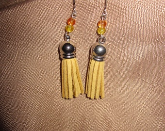 Clearance - Yellow Tassel Earrings with Crackle Beads