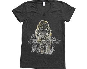 Tiger Shirt - Women's T-shirt - Foil T-shirt - Gold Foil - Animal Print Tee - Graphic Tee - Animal Lover Gift - Nature Shirt - Screen Print