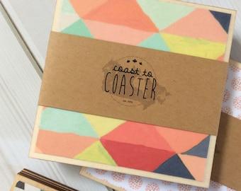 Geometric Decor, Geometric Coasters, Pink Coasters, Teal Coasters, Turquoise Coasters, Turquoise Decor, Wood Decor, Wooden Coasters