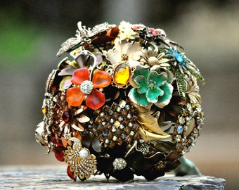 CUSTOM Vintage Wedding Fall Brooch Bouquet - to fit your style, budget & colors, OOAK, vintage bridal bouquet