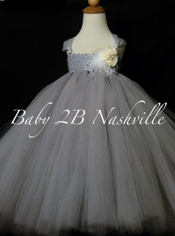 Silver Dress Grey Dress Flower Girl Dress Tutu Dress Wedding Dress Party Dress Birthday Dress Baby Dress Toddler Dress Tulle Dress Girls