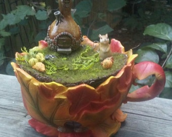 Fall Leaves Teacup Fairy Garden Kit, Teacup Container Planter, Squash House, Moss, Squirrel