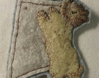 Hand Embroidered Felted Hungry Cairn Brooch by Penny Sanford
