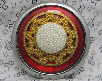 Red pocket mirror with protective pouch - pocket gift mirror - round compact mirror gift - red compact mirror - Red Hot - gift