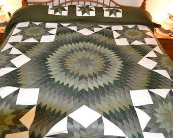 "Amish Handmade Quilted Star in Stars King 107"" x 119"""