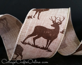 """Christmas Wired Ribbon, 2.5"""" wide, Brown Deer Print on Tan Faux Linen - TEN YARD ROLL -  """"Deer Natural"""" Craft Wire Edged Ribbon"""