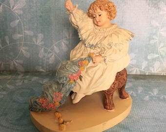 FREE SHIPPING - The Seamstress - Limited Heirloom Edition Maud Humphrey Figurine - 1987 Girl in White Dress Sitting Sewing