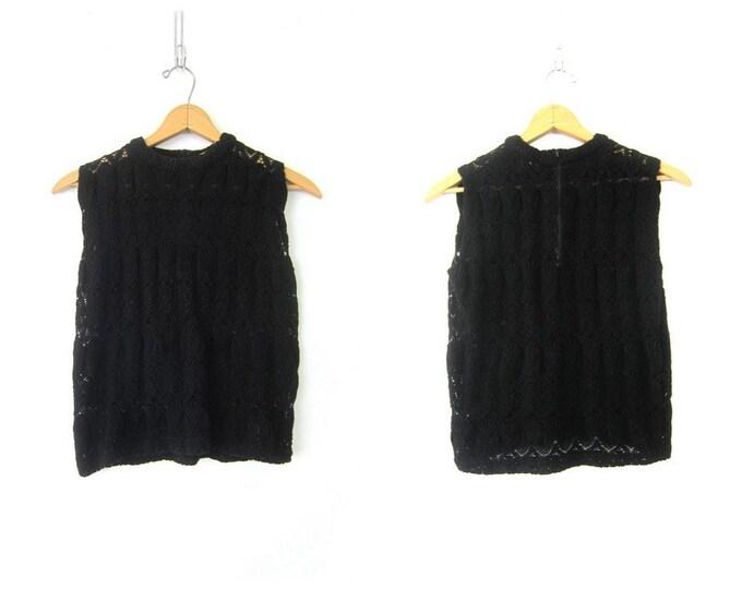 1950s Minimal Black Crochet Knit Sweater Top Sleeveless Loose Knit Sweater Vest Top Basic Prep Knit Shirt Vintage Womens Size Medium Large