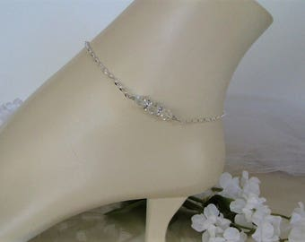 Bridal Anklet-Crystal Bridal Anklet-Bridesmaid Gift-Wedding Gift-Bridal Shower Gift-Brides Gift-Wedding Jewelry-Sterling Silver Chain Anklet