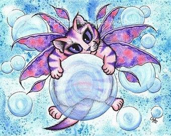 Bubble Fairy Cat Art Kitten Big Eye Art Fantasy Cat Art Print 5x7 Cat Lovers Gift