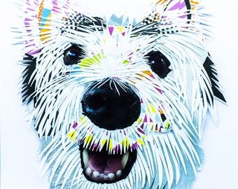 Handmade A3 Westie Dog Collage