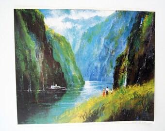 Vintage 1970's Jack Laycox Geiranger Fjord Norway Print