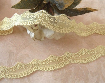 Wholesale lot  4yards   yellow embroidered  flower   Lace Trim DIY Sewing collar dress hair accesory 2.5cm 1inch