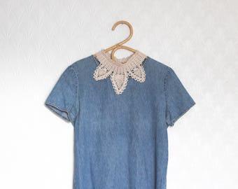 vintage crocheted collar // geometric fibre necklace // button up beige crochet collar