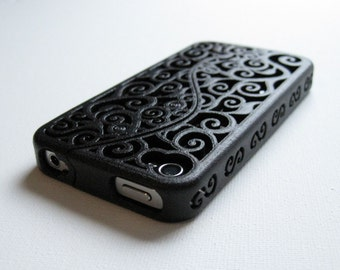Backstock Clearance SALE Ready-To-Ship Black/Grey - Designer iPhone 4 / 4s case - Deeply discounted snap style. 3D printed Victorian Swirl