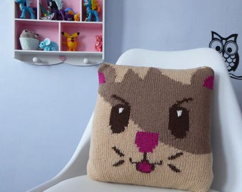 Hamster Cushion, Kids Pillow, Knitted Cushion, Animal Pillow, Kids Decor, Fun Pillow, Soft and Cuddly Hamster design