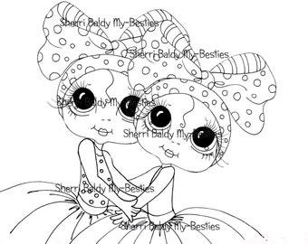 INSTANT DOWNLOAD Digital Digi Stamps Big Eye Big Head Dolls Digi  My - Besties  Huggable Bestfriends  By Sherri Baldy
