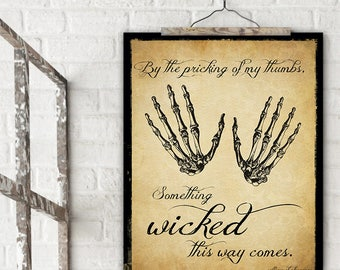 Something Wicked This Way Comes Shakespeare Literary Quote. Vintage Style Fine Art Print For Classroom, Library, Home or Dorm.