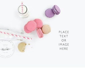 Styled Desktop | Milk and Macaroons | Styled stock photo | Styled Photography | Food Image
