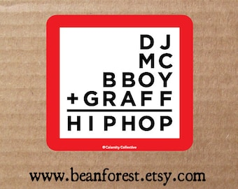 vinyl sticker - 4 pillars of hip-hop (dj, mc, bboy, graffiti, hip hop) - bumper sticker - laptop decal