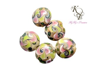 Lampwork Beads, Pink Green Yellow Beads, Colorful Beads, Glass Lampwork Beads, Chunky Beads, Disc Beads, 5 Pieces 19mm