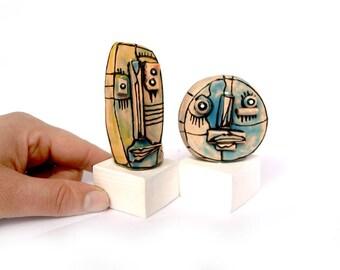 Mini sculpture, family portrait art, Shelf art, Desk sculpture, Gift for the couple, Mini ceramic art, gay couple gift, couple gift, 99heads