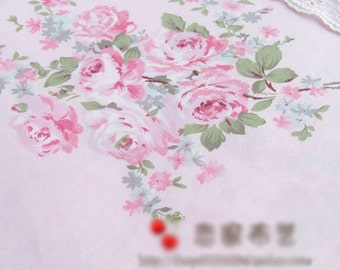 Pink Large Floral Cotton suitable for Bedding Sheeting Curtain Homeware Craft 1 Yard