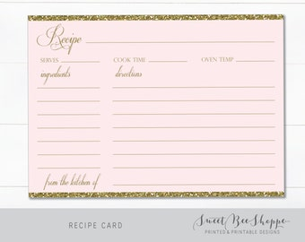 Recipe Card Insert (INSTANT DOWNLOAD!) Bridal Shower Insert Recipe Card, Customize and Print It Yourself!