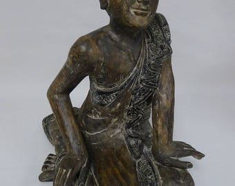 Sitting Buddhist Monk Wood Carving