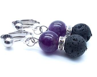 Genuine Amethyst/Black Lava Beaded Dangle Clip On Earrings - Non-Pierced Ears