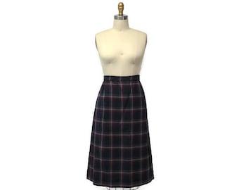 40s retro blue plaid pencil wool skirt