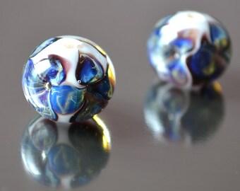 Round lampwork beads, handmade round beads, blue flower white bead