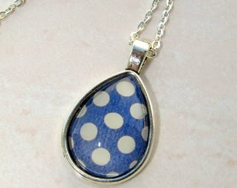 Necklace blue pendant with beige polka dots backed drop 25 x 18 mm silver color metal earrings available in my shop