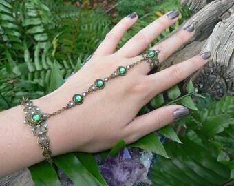elfin slave bracelet,poison ivy,cosplay,peridot hand chain,green,full finger ring,hand flower,festival,boho,victorian ,moon goddess , gypsy