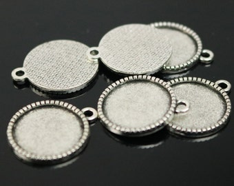 50 Round Antique Silver Bezel - for 16mm 5/8inch  - Circle Pendant Blank Bezel . for Cabochon Cameo Pendants, Photo Jewelry, Post Setting