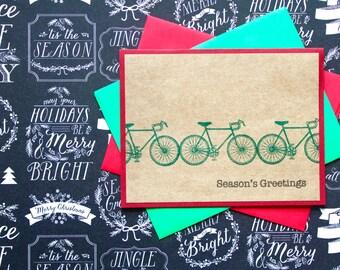 Bike Christmas Card, Merry Christmas Bicycle Card, Handmade Bicycle Cards, Bicycle Christmas Card, Seasons Greetings, Cyclist Holiday Card