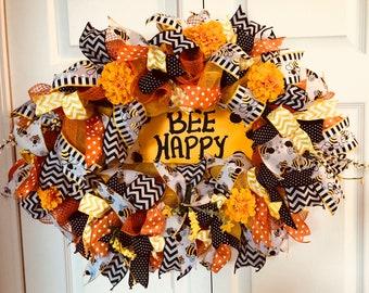 Bee Accented Wreath, Spring Wreath, Bee Wreath, Summer Wreath, Mesh Wreath, Front Door Wreath, Entryway Wreath, Summer Bee Wreath