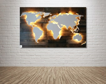 "Illuminated wooden world map - 50x30inch ""Powell"""