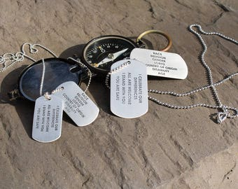 Beliefs Dog Tags Sterling Silver ACLU Donation Celebrating Diversity